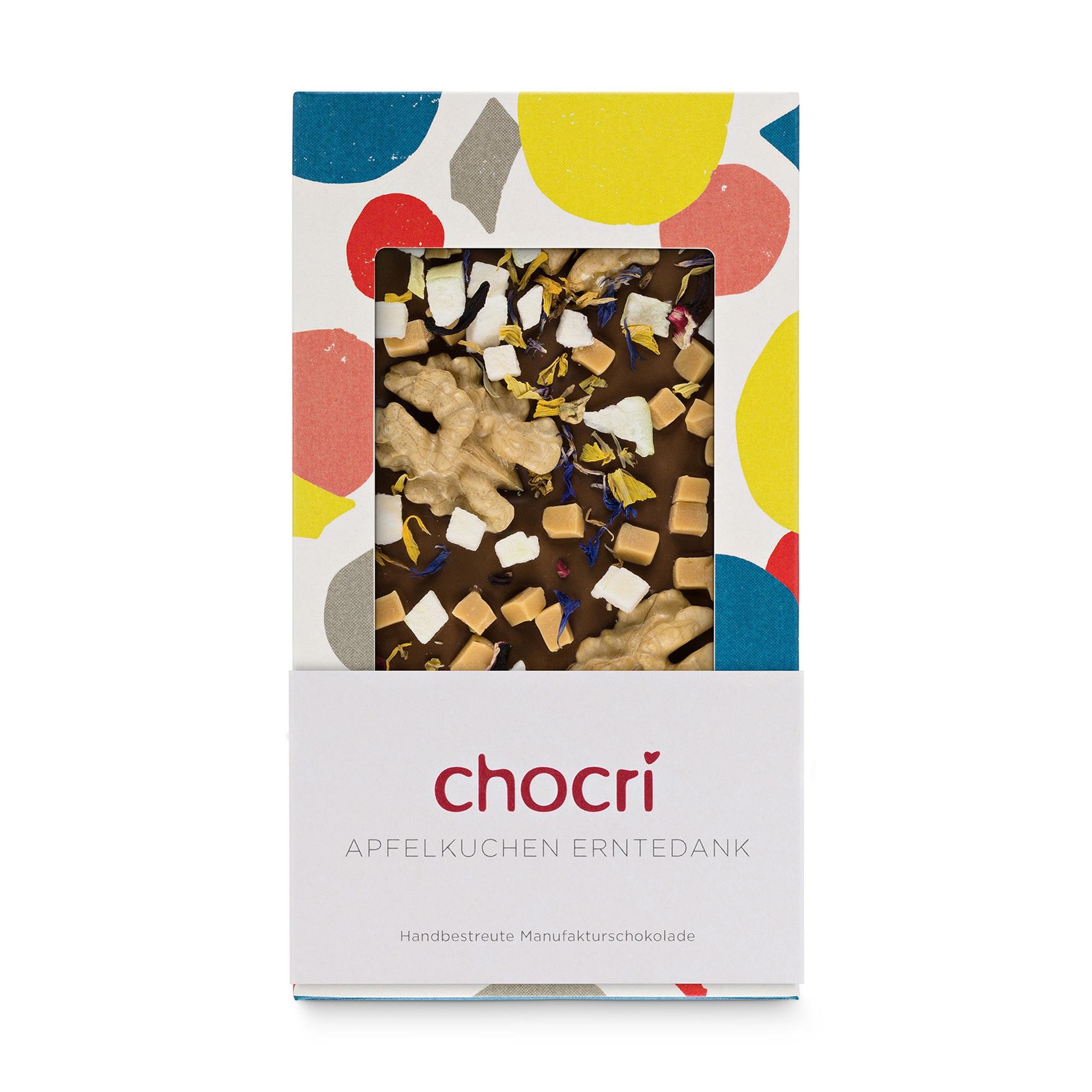 Köstlichbackwaren - Vollmilchschokolade mit ganzen Nüssen 'Apfelkuchen' - Onlineshop Chocri