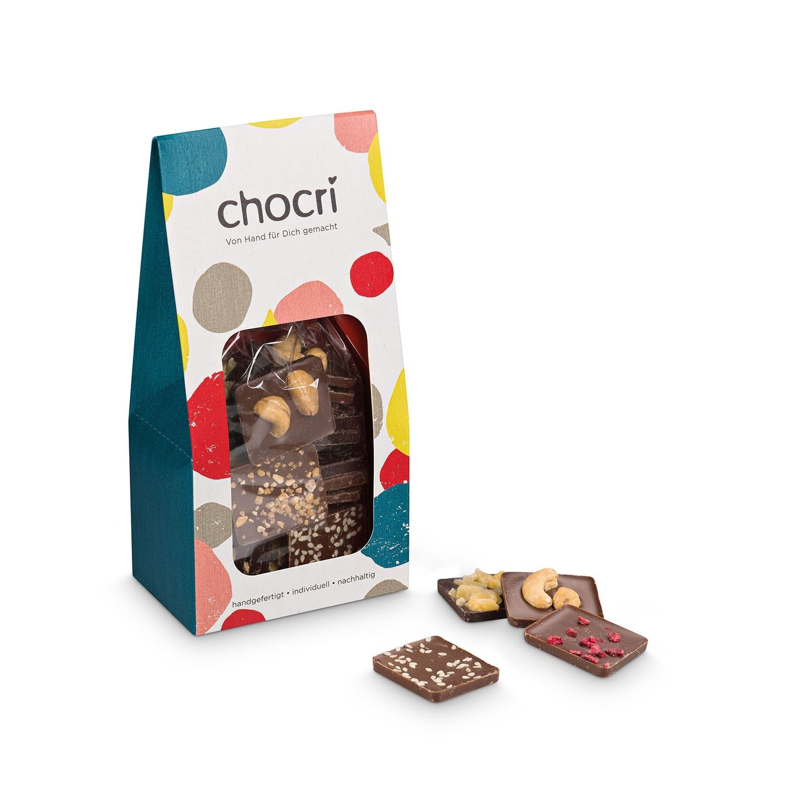 chocri 'Vollmilch, Zartbitter & Weiß' Mini-Bruchschokolade