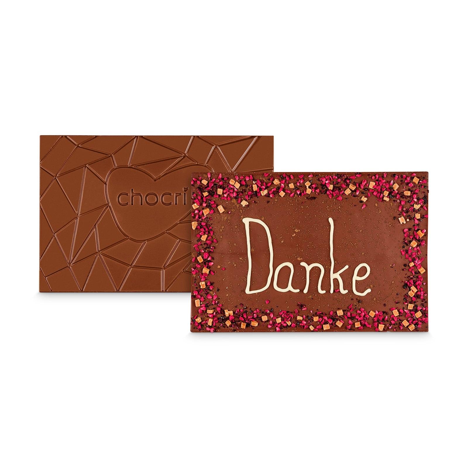 'Danke Schokolade' XXL Schokoladentafel mit Schokogruß in hochwertiger Holzbox