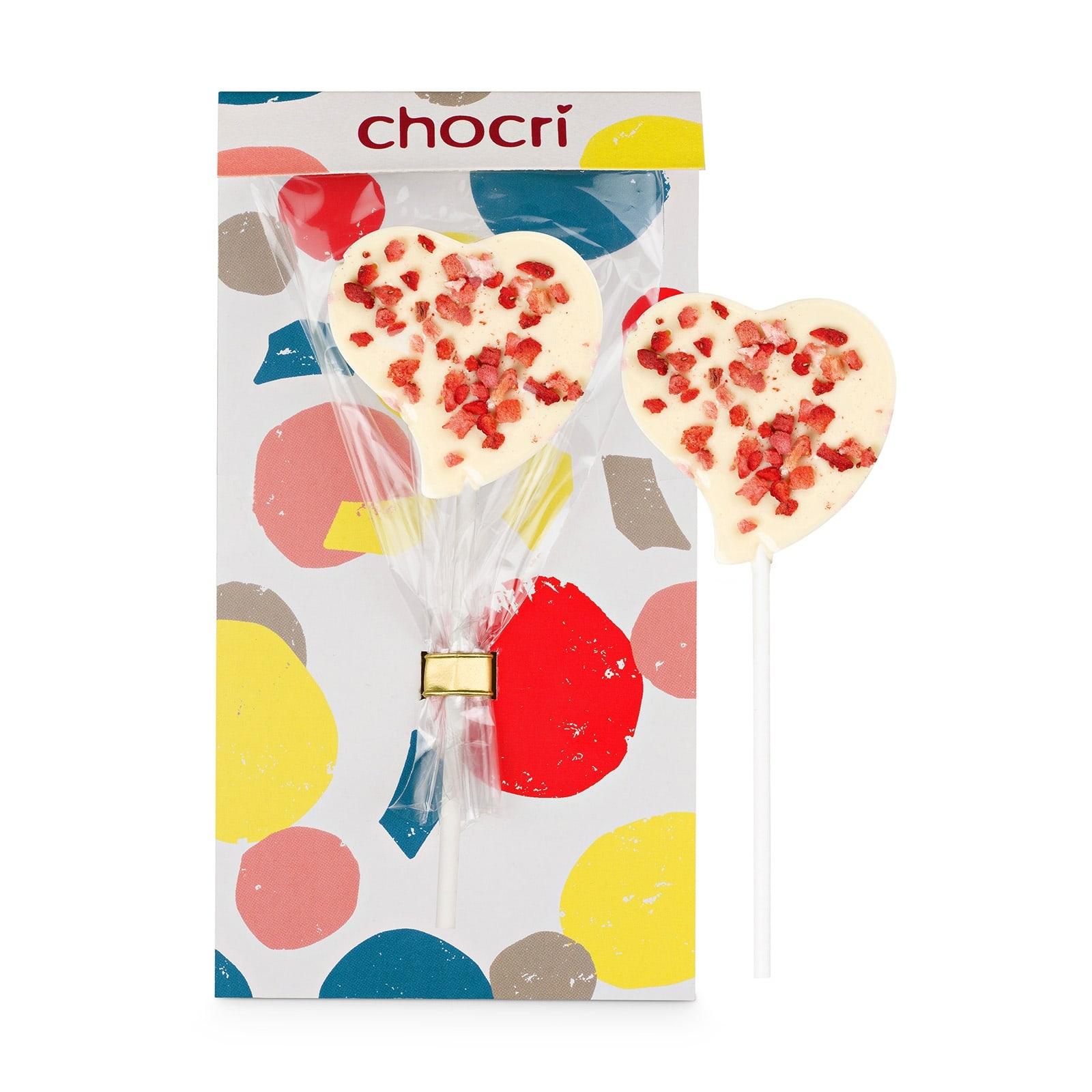 chocri 'Erdbeerliebe' Herz-Schokoladen-Lolly