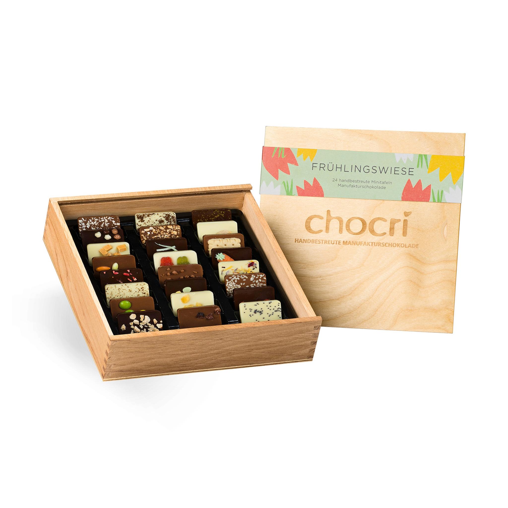 Köstlichsüsses - chocri 'Frühlingswiese' Mini Schokoladentafeln in Holz Box - Onlineshop Chocri