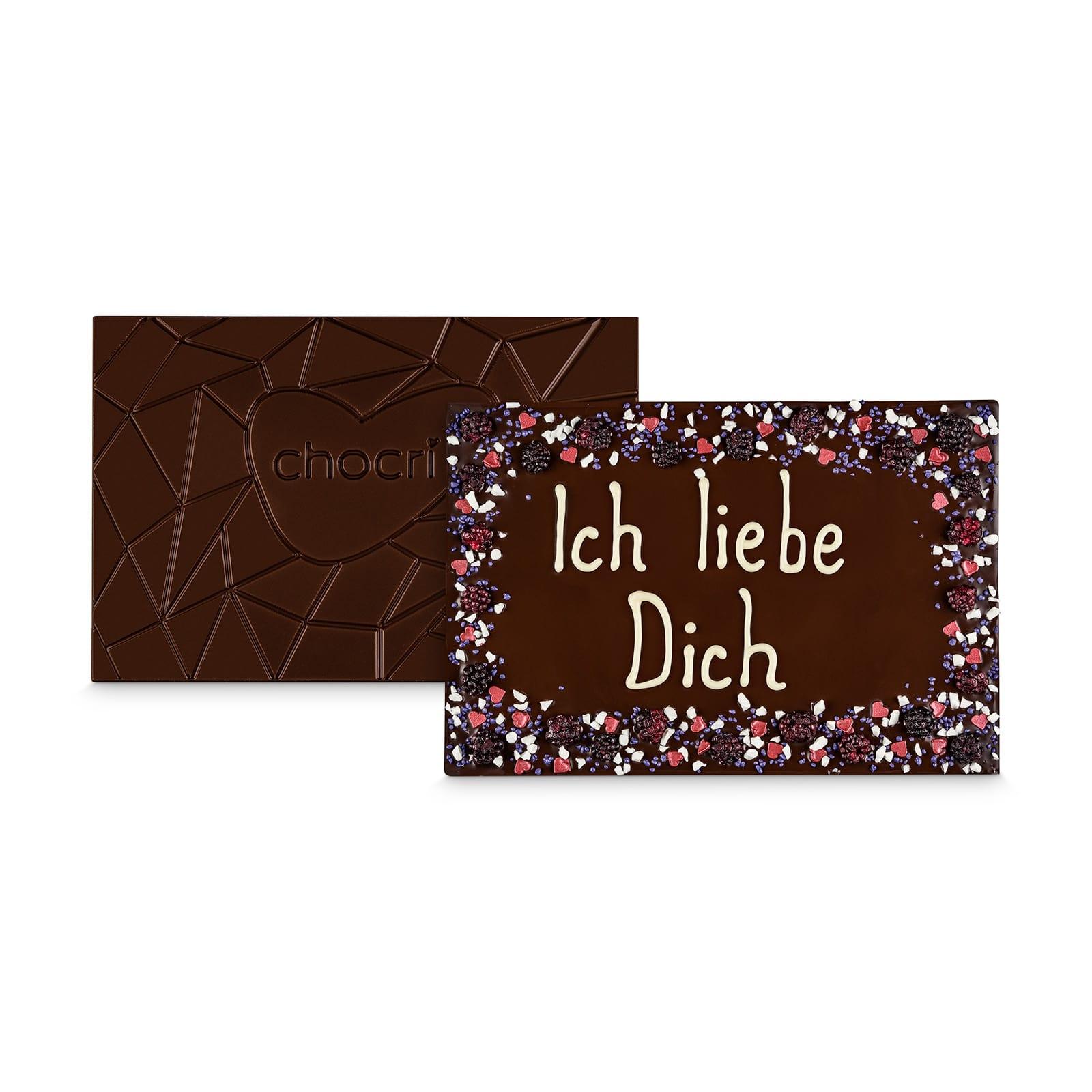 - XXL Zartbitter Schokoladentafel handbeschriftet mit Botschaft in einer hochwertigen Holzkiste - Onlineshop Chocri