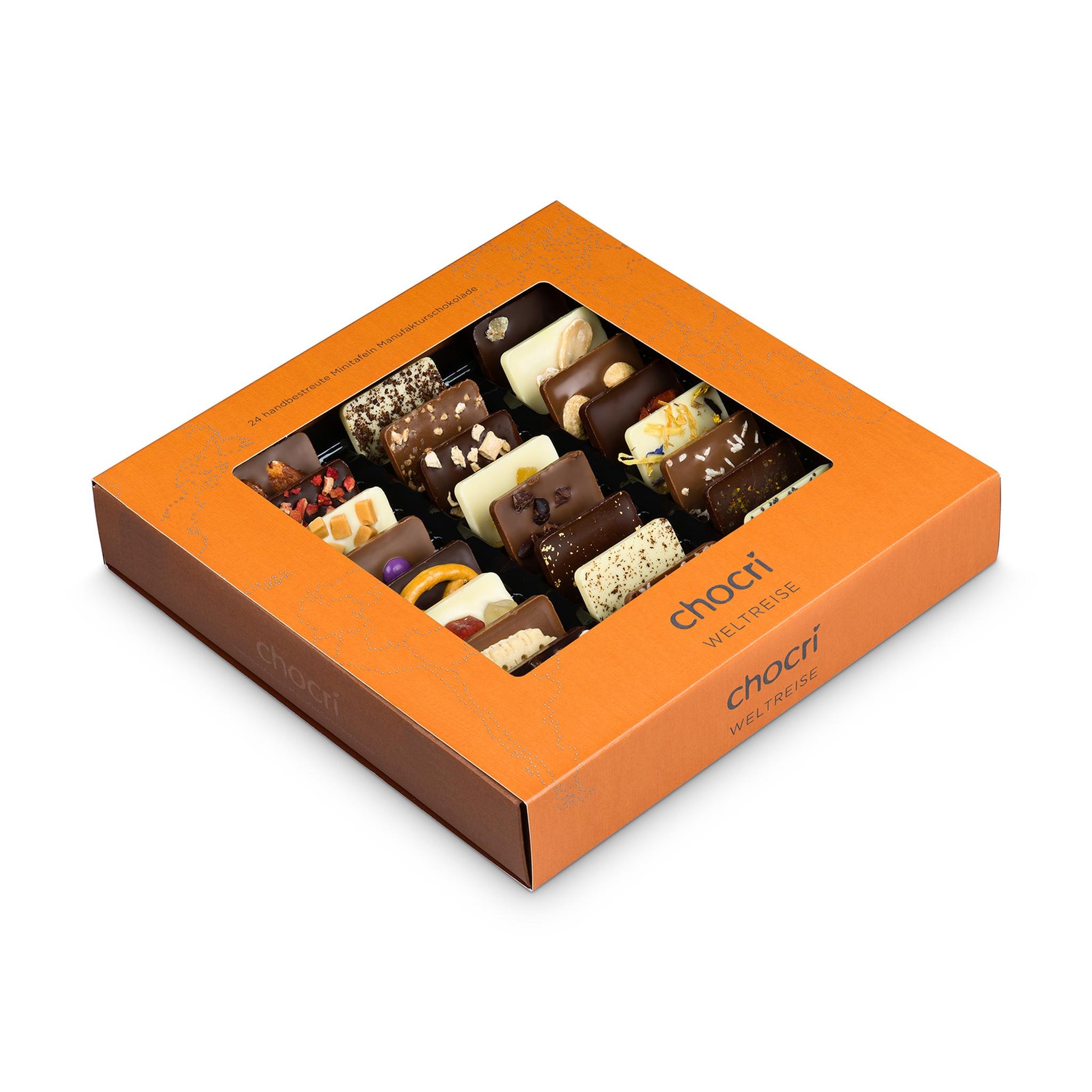 Köstlichsüsses - chocri Weltreise® 'Klassik' Mini Schokoladentafeln - Onlineshop Chocri