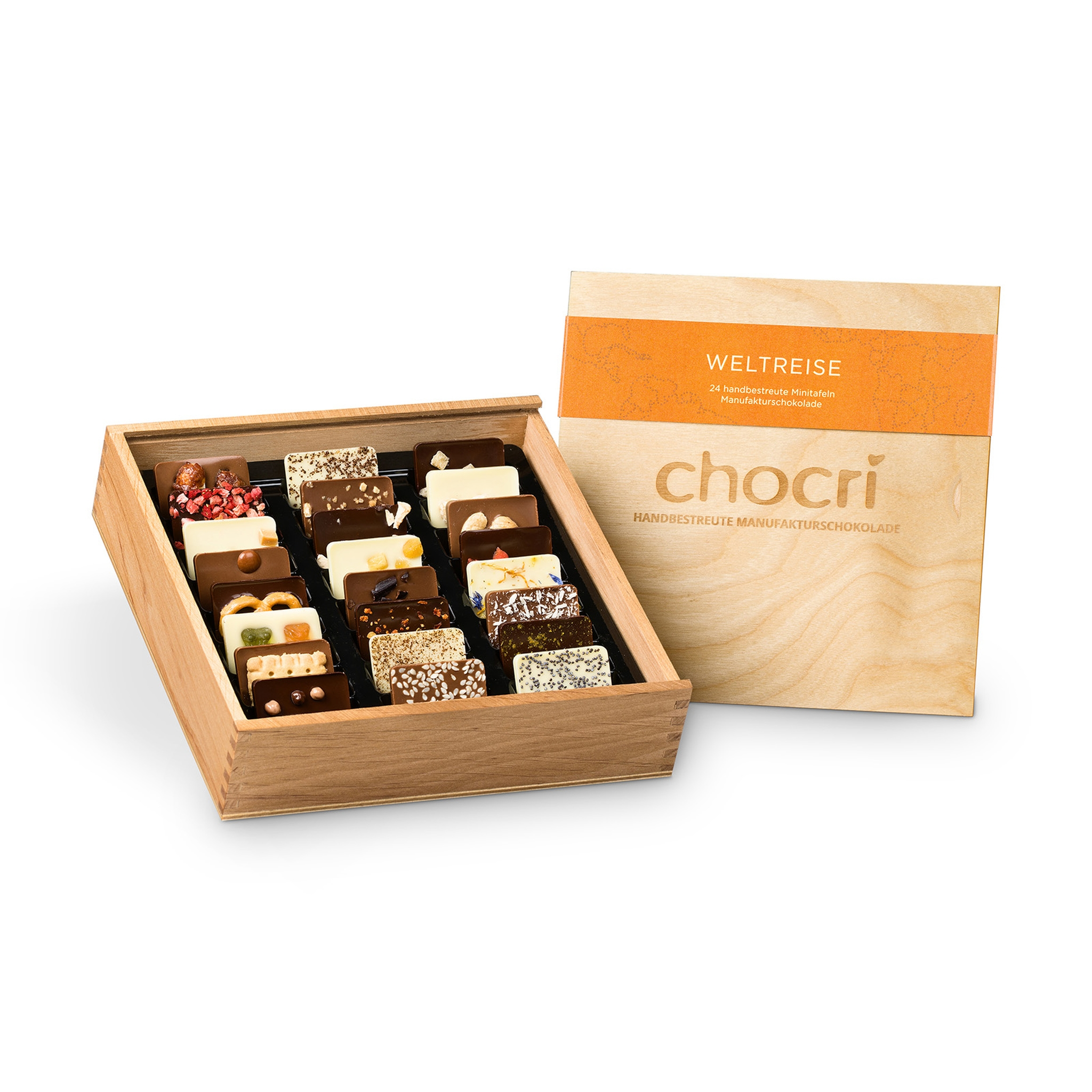 Köstlichsüsses - chocri Weltreise® 'Klassik' Mini Schokoladentafeln in Holz Box - Onlineshop Chocri