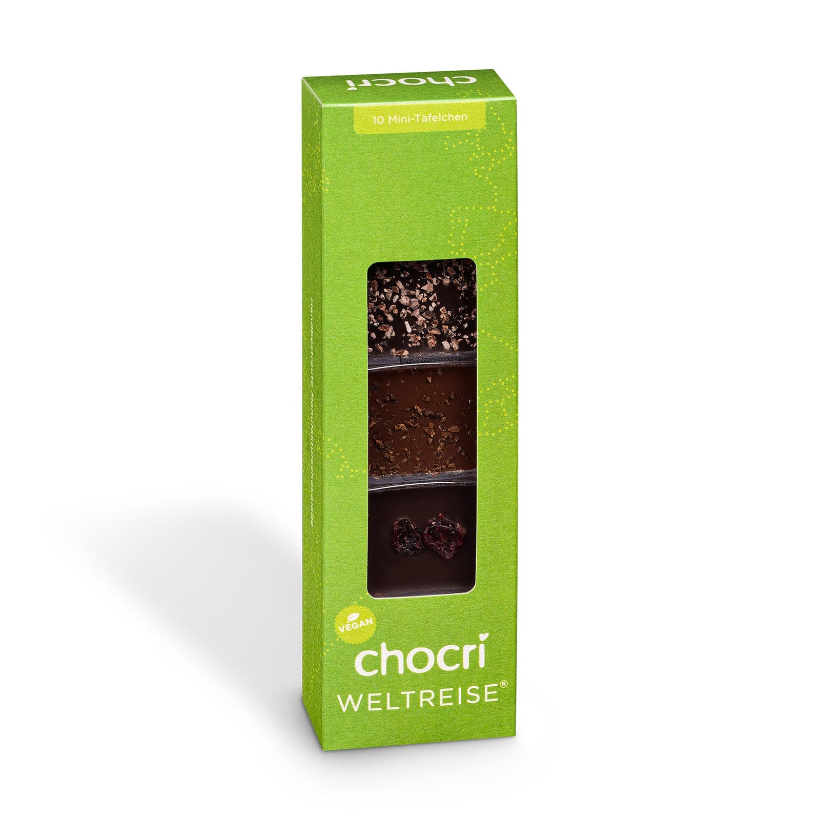 Köstlichsüsses - chocri kleine Weltreise® 'Vegan' Mini Schokoladentafeln - Onlineshop Chocri