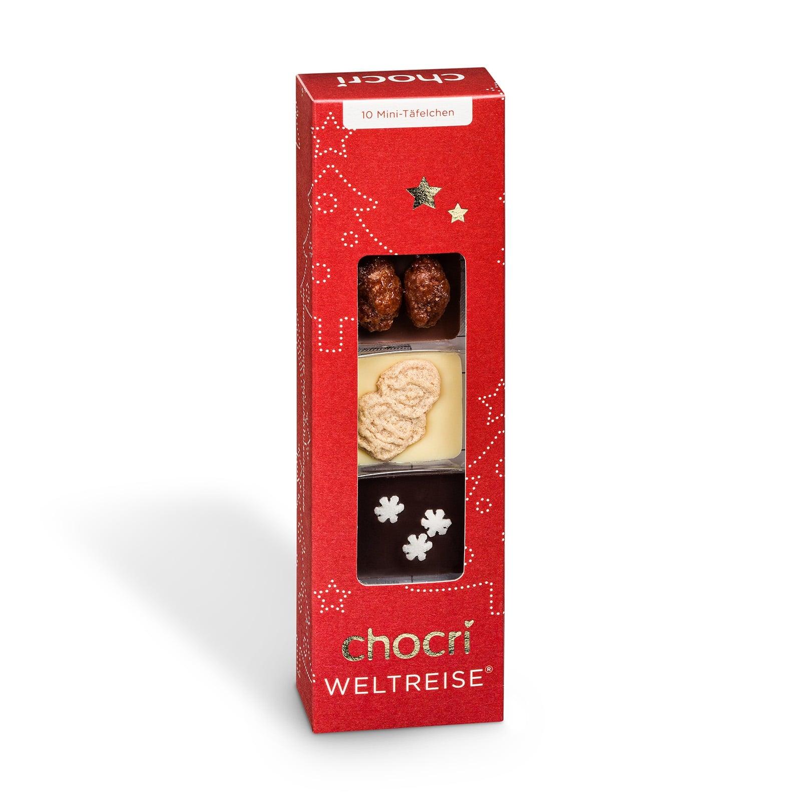 Köstlichsüsses - chocri 'Kleine Winterweltreise®' 10 Mini Schokoladentafeln - Onlineshop Chocri