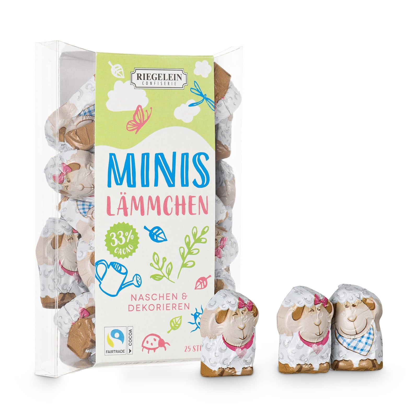 Confiserie Riegelein Mini Osterlämmer aus Edel-Vollmilchschokolade in Geschenkbox