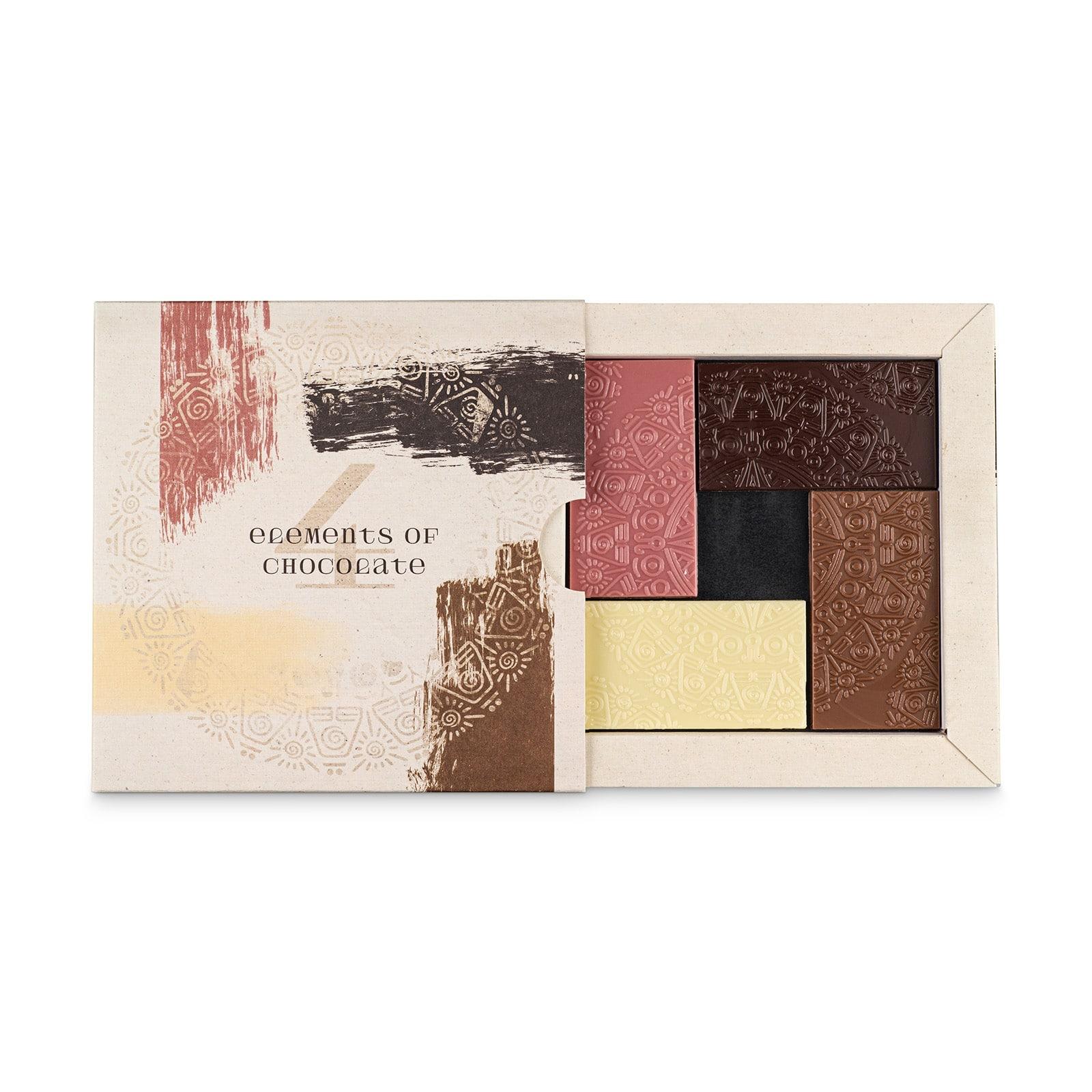 Schokoladen-Tasting Set mit Ruby Schokolade '4 Elements of Chocolate'
