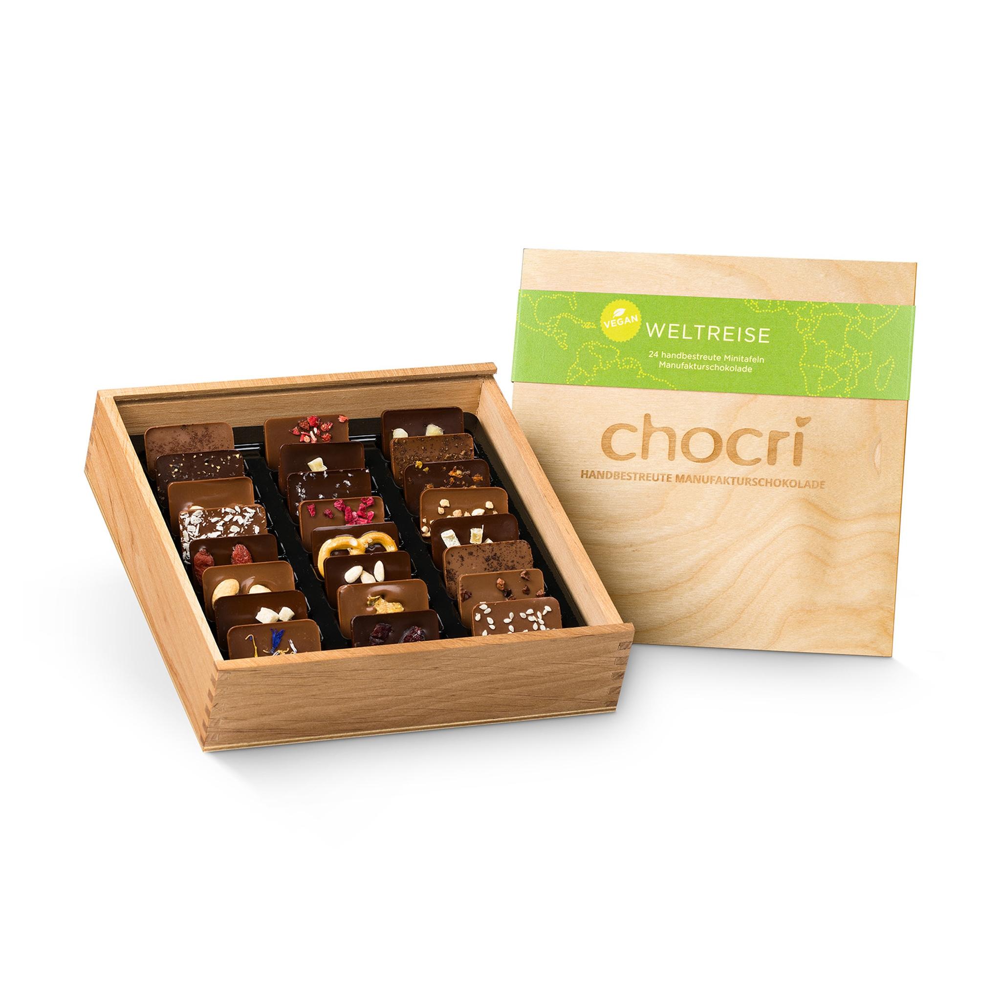 chocri Weltreise® 'Vegan' in edler Holz-Box
