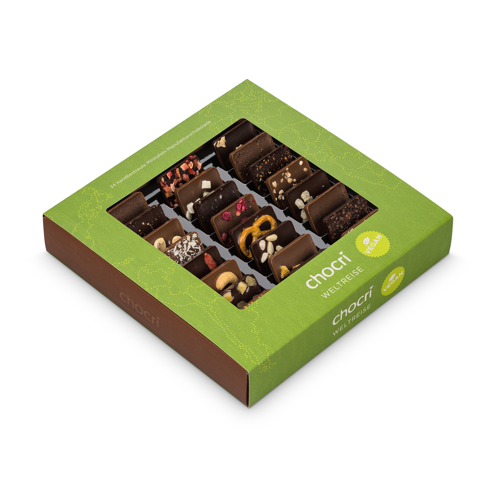 Köstlichsüsses - chocri Weltreise® 'Vegan' Mini Schokoladentafeln - Onlineshop Chocri