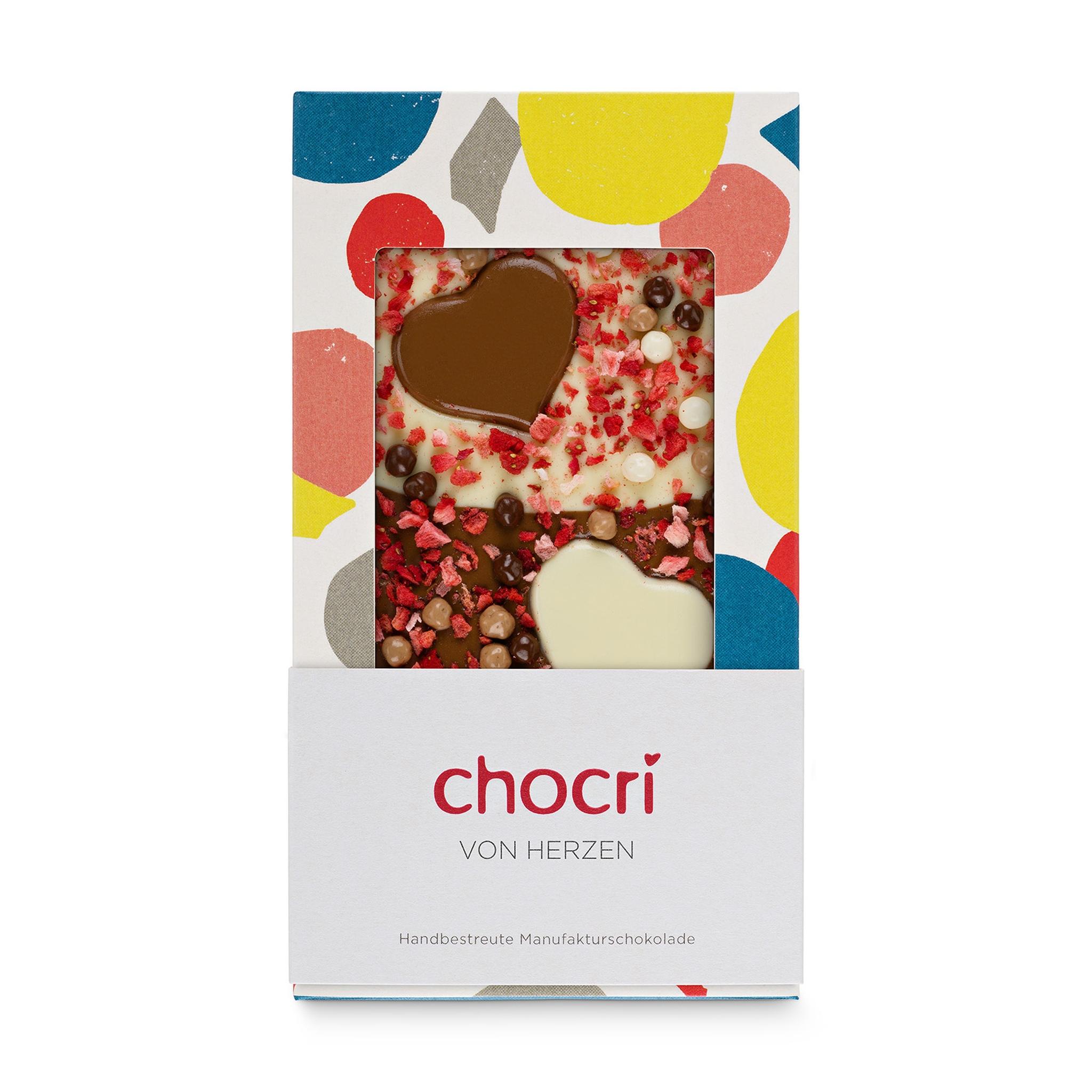Weiße Schokolade mit Crisp 'Von Herzen'
