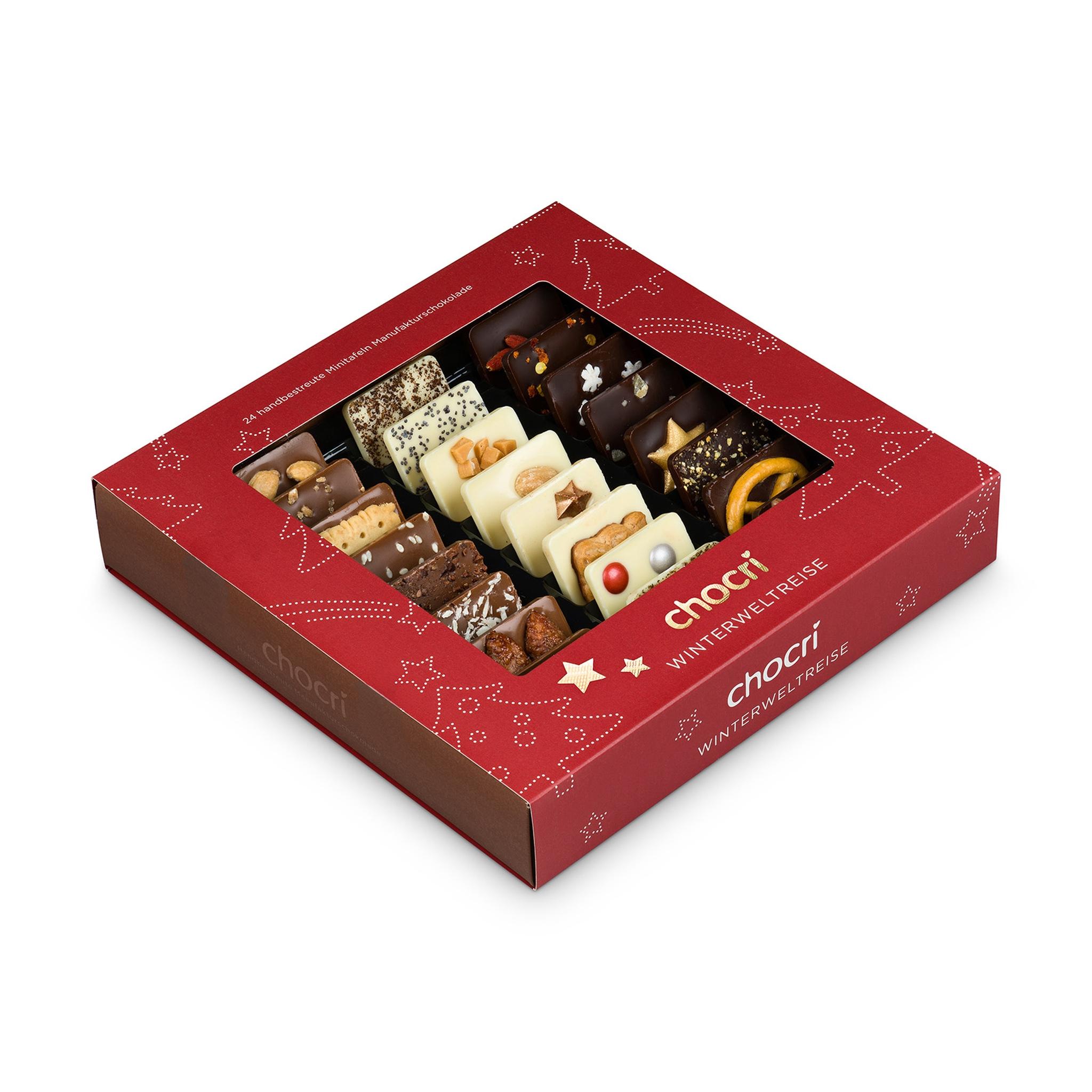 Köstlichsüsses - chocri 'Winterweltreise' Mini Schokoladentafeln - Onlineshop Chocri