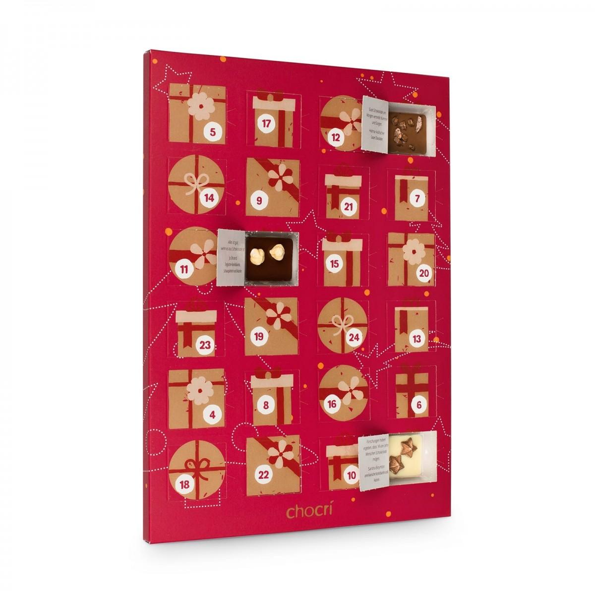 Schokoladen Weihnachtskalender.Chocri Adventskalender Mit 24 Mini Schokoladen Tafeln
