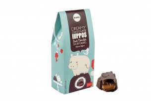 "Barú ""Dreamy Hippos Dark Chocolate Sea Salt Caramel"" Praline in Verpackung"
