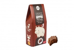 "Barú ""Dreamy Hippos Milk Chocolate Hazelnut Truffle"" in Verpackung"
