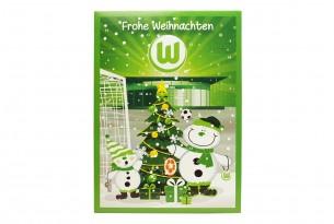 """Schoko-Adventskalender """"VfL Wolfsburg"""" Vorderseite mit Motiv"""