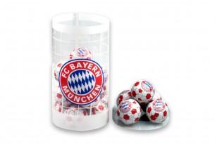 """Die Schoko-Kugeln des """"FC Bayern München"""" in der Schokoladen-Dose - das Runde muss in den Mund"""