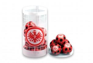 """Die Schoko-Kugeln der """"SG Eintracht Frankfurt"""" in der Schokoladen-Dose - das Runde muss in den Mund"""