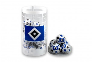 """Die Schoko-Kugeln von """"Hertha BSC"""" in der Schokoladen-Dose - das Runde muss in den Mund"""