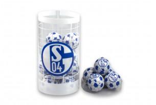 """Die Schoko-Kugeln des """"FC Schalke 04"""" in der Schokoladen-Dose - das Runde muss in den Mund"""
