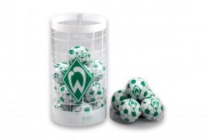"""Die Schoko-Kugeln des """"SV Werder Bremen"""" in der Schokoladen-Dose - das Runde muss in den Mund"""