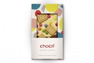 "chocri ""Buntes Lachen"" Schokoladen-Tafel | Vorderseite"