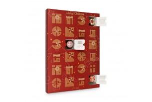 chocri Adventskalender mit verschiedenen Cup-Pralinen im weihnachtlichen, rotem Design