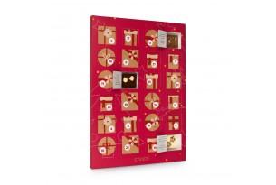 chocri Adventskalender mit Schokoladentafeln aus weißer, Zartbitter und Vollmilchschokolade im roten Design