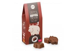 chocri / Barú Pralinen aus dunkler belgischer Schokolade mit Haselnuss-Trüffel-Füllung in einer roten Geschenkverpackung
