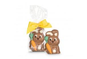 Belfine 'Gizmo' Schokoladen Osterhase mit Möhrchen und Schleife, perfektes Geschenk für Kinder