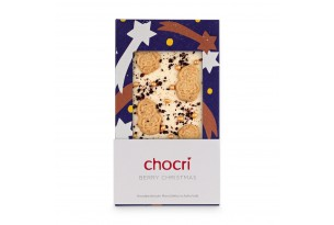 """chocri weiße Schokoladentafel """"Berry Christmas"""" mit Spekulatiuskeksen und Heidelbeeren in der weihnachtlichen Verpackung"""