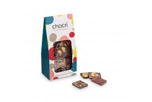 'Vollmilch, Zartbitter & Weiß' Mini-Bruchschokolade in einer modernen Verpackung, verpackt