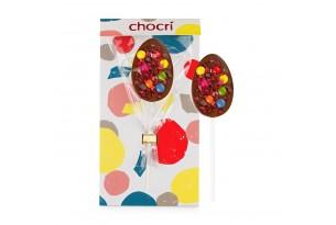 """chocri Vollmilchlolly """"Bubbles"""" mit Schokolinsen und Himbeeren zum Osterfest in der Verpackung"""