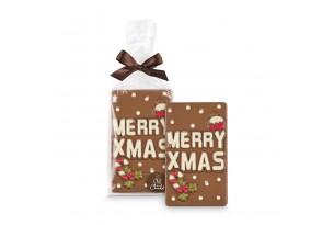 Chef du Chocolat 'Merry XMas' Botschaft aus Vollmilchschokoladen verpackt in transparenten Beutel