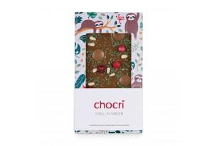 """chocri Vollmilchschokoladentafel """"Chill in Green"""" mit Minze, Honigschokoladentropfen und Johannisbeeren in einer Faultier-Verpackung"""