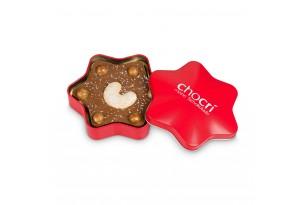 chocri Vollmilchschokoladentafel in Sternform mit Vanille-Kirpfel, Spekulatiuscrisps und Echtsilberpulver in einer edlen Metalldose