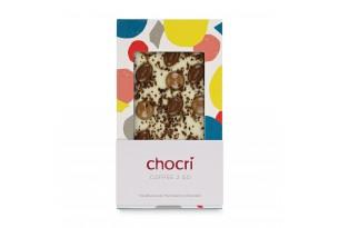 """chocri weiße und Vollmilchschokoladentafel """"Coffee 2 Go"""" mit Mocca- und Kakaobohnen und Cappuccino-Tropfen in der Verpackung"""