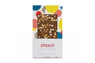 """chocri Vollmilchschokoladentafel """"Crunchy Caramel"""" mit Walnusskernen, Weizencrisps und Karamell in der Verpackung"""