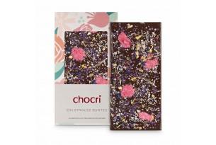chocri 'Ein Strauß Buntes' Schokoladentafel mit Blüten, Echtsilber ausgepackt