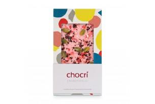 chocri Erdbeerschokoladentafel mit Erdbeeren,Pistazien und Heidelbeerbruch in der Verpackung