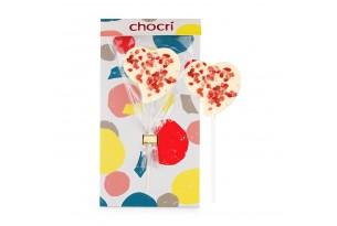 "chocri weiße Schokoladen-Lolly in Herzform""Erdbeerliebe"" mit Erdbeeren in der Verpackung"