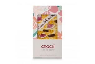 chocri weiße Schokoladentafel mit Orangencrunch,Feigen und Zuckeraufleger zum Muttertag in der Verpackung
