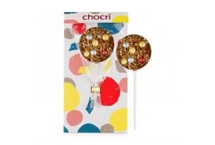 """chocri Vollmilchschokoladen-Lolly """"Glitzerkugel"""" mit Glitzer-Schokolinsen und Haselnusskrokant zum Weihnachtsfest in der Verpackung"""