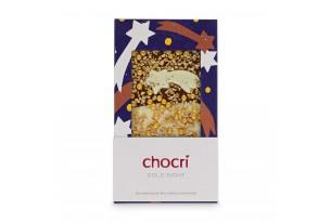"""chocri weiße und Vollmilchschokoladentafel """"Gold Night"""" mit Sternschnuppe, Goldpulver, Glitzerperlen und Haselnusskrokant in der weihnachtlichen Verpackung"""