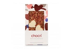 """chocri Vollmilchschokoladentafel """"Mein Goldschatz"""" mit Herzen aus weißer Schokolade, Erdbeeren und Goldpulver in der Valentinstagsverpackung"""