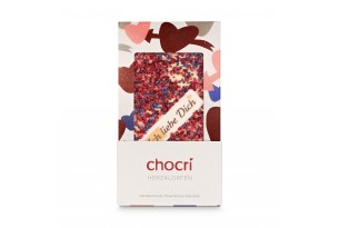 """chocri Weiße Schokoladentafel mit Himbeeren, Fliederblüten und """"Ich liebe Dich"""" Schriftzug in der Valentinstagsverpackung mit Herzen"""