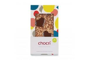 chocri Vegolade und Zartbitterschokoladentafel 'Herzensnuss' mit Schokoladenherzen, Haselnusskrokant und Erdnüssen in der Verpackung