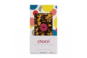 chocri Zartbitterschokoladentafel mit Orangenstücken und Cranberries in der Verpackung
