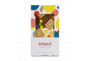 """chocri weiße und Vollmilchschokoladentafel """"Kinderlachen"""" mit Schokolinsen, Butterkekse und Gummibären in der Verpackung"""