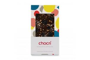 """chocri Zartbitterschokoladentafel """"Kirschfeuerwerk"""" mit Sauerkirschen, Echtgoldpulver und Chilliflocken in der Verpackung"""